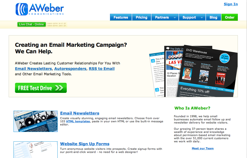 AWeber – Email Newsletters and Campaigns with Marketing Automation