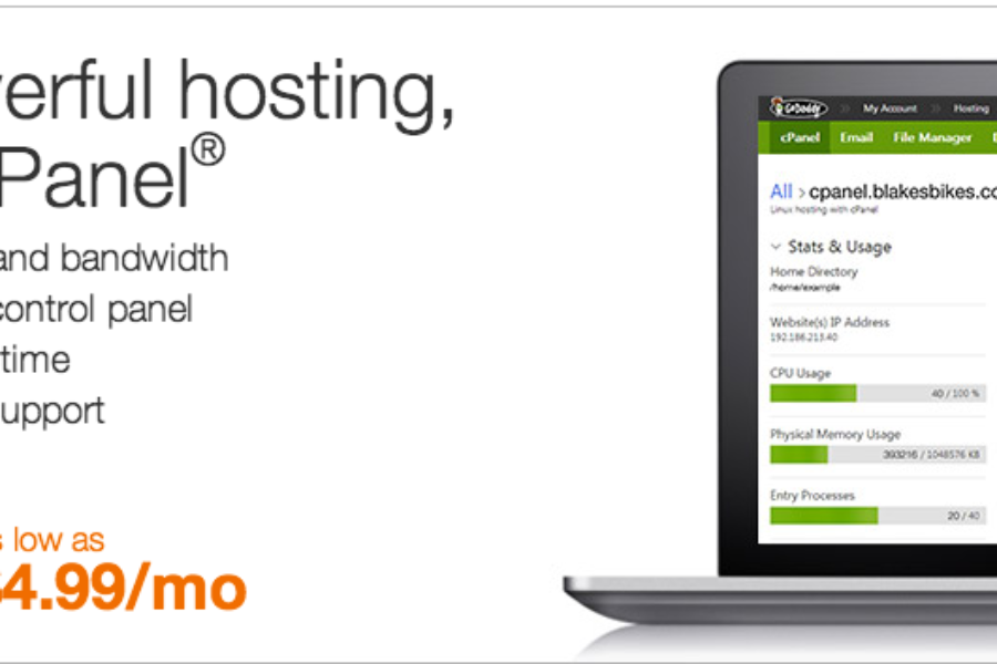GoDaddy new Linux web hosting with cpanel
