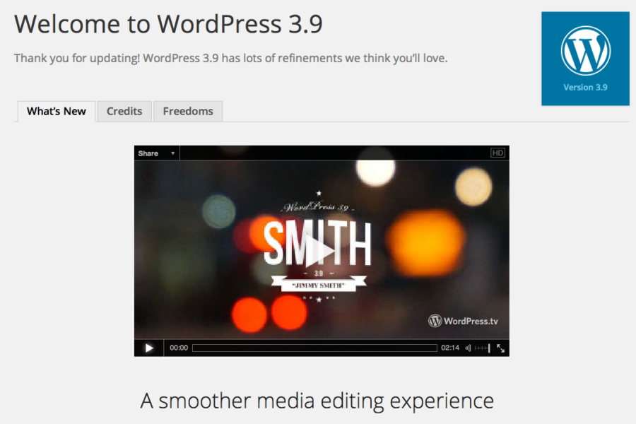 Highlights of WordPress 3.9 updates