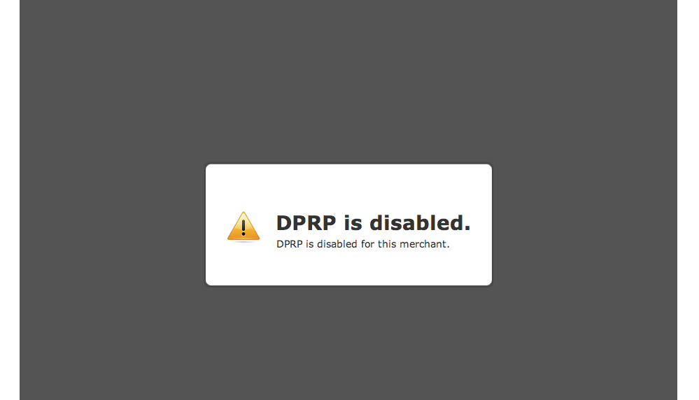 Paypal – DPRP is Disabled.