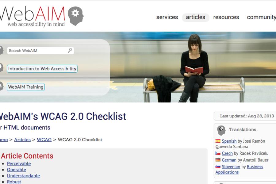 WCAG 2.0 Checklist